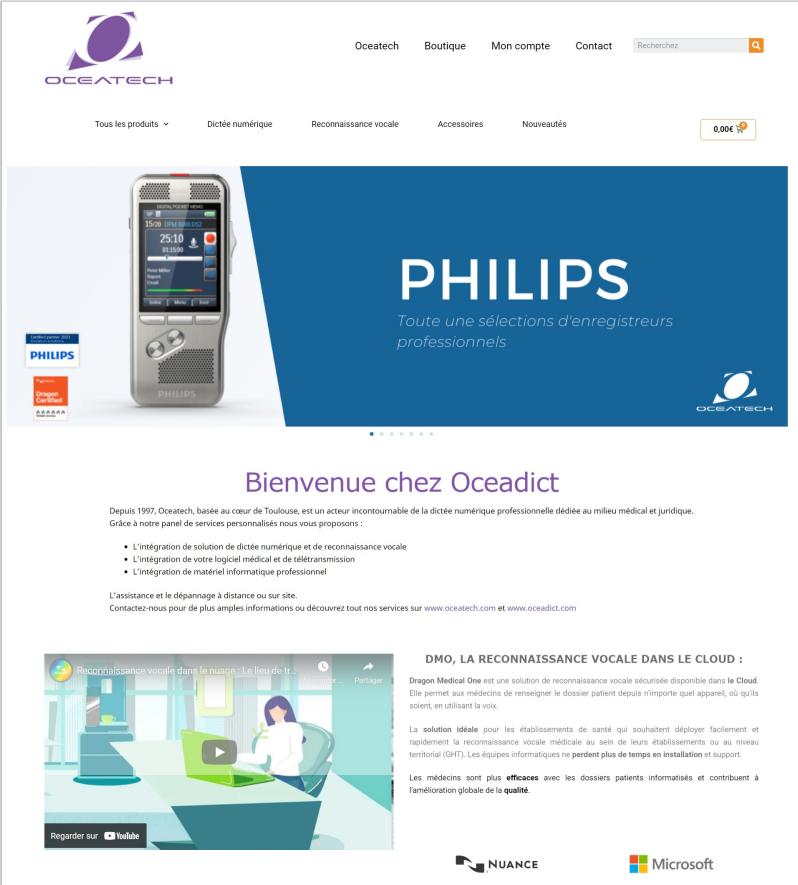 Template design du site OCEADICT
